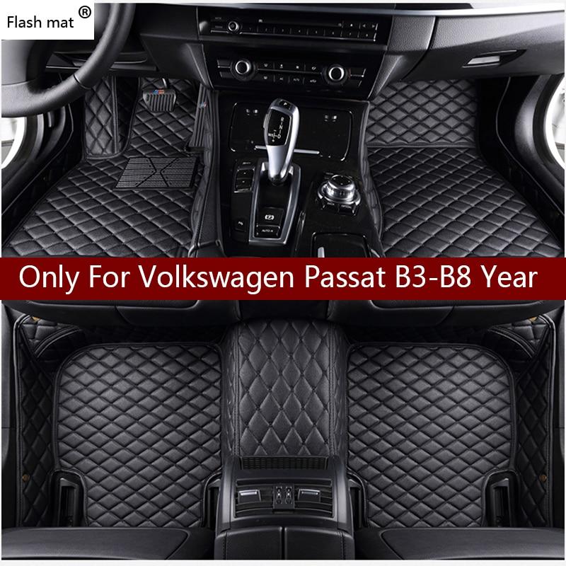Flash de couro tapete tapetes do assoalho do carro para Volkswagen vw passat B3 B4 B5 B6 B7 B8 2000-2018 Personalizado Almofadas do pé tapete automóvel cobrir