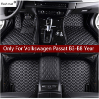 Flash mat leather car floor mats for Volkswagen vw passat B3 B4 B5 B6 B7 B8 2000 2018 Custom foot Pads automobile carpet cover
