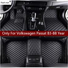 цена на Flash mat leather car floor mats for Volkswagen vw passat B3 B4 B5 B6 B7 B8 2000-2018  Custom foot Pads automobile carpet cover