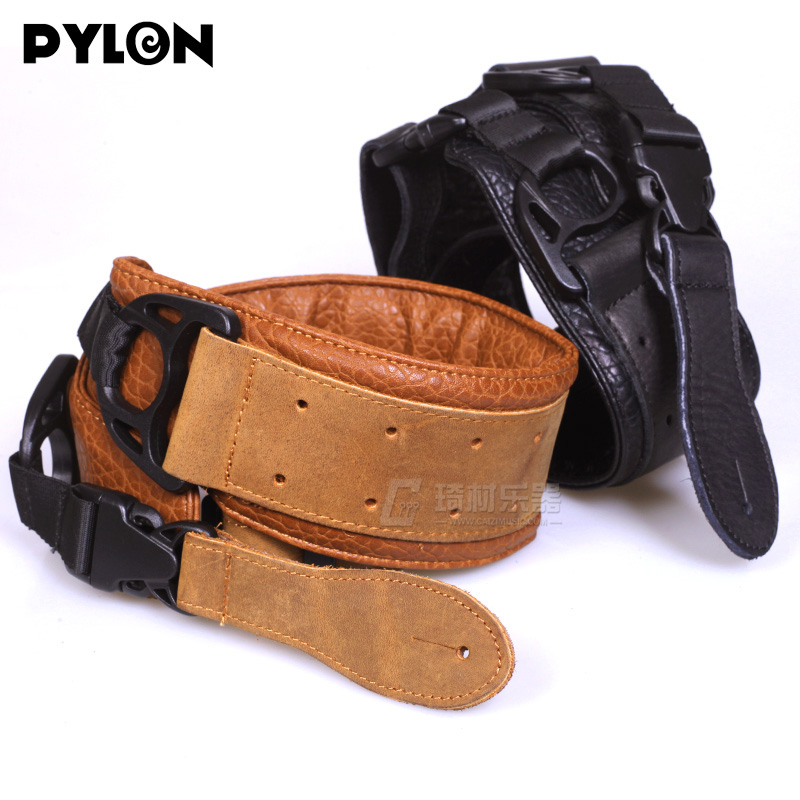 Pylon Guitar Dirigible Leather Guitar Strap Adjustable Fit Acoustic / Electric Guitar or Bass classical genuine leather bass guitar belt strap electric bass strap length adjustable guitar belt strap with super handcraft
