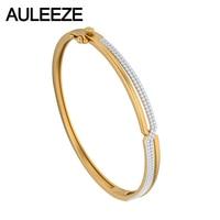 Fashion Commuter Lady Natural Real Diamond Bangle 14K Solid Yellow Gold Bangle Diamond Engagement Wedding Bracelets Fine Jewelry