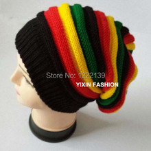 19ce54254ce 5pcs lot Fashion Jamaica Rasta Style Winter Knitted Multi-Colored Beanie  Hat Hip Hop