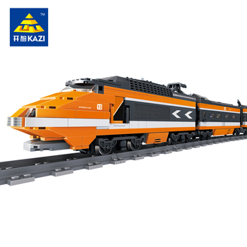 KAZI Classical Retro TGV High-speed Train with Track Building Blocks Children Educational Toys Bricks Compatible with lego
