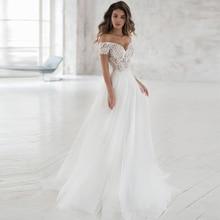 فساتين زفاف بوهيمية أنيقة مكشوفة الكتف 2020 مصنوعة حسب الطلب من التل الناعم على شكل حرف a فستان زفاف من الدانتيل Vestidos de Novia