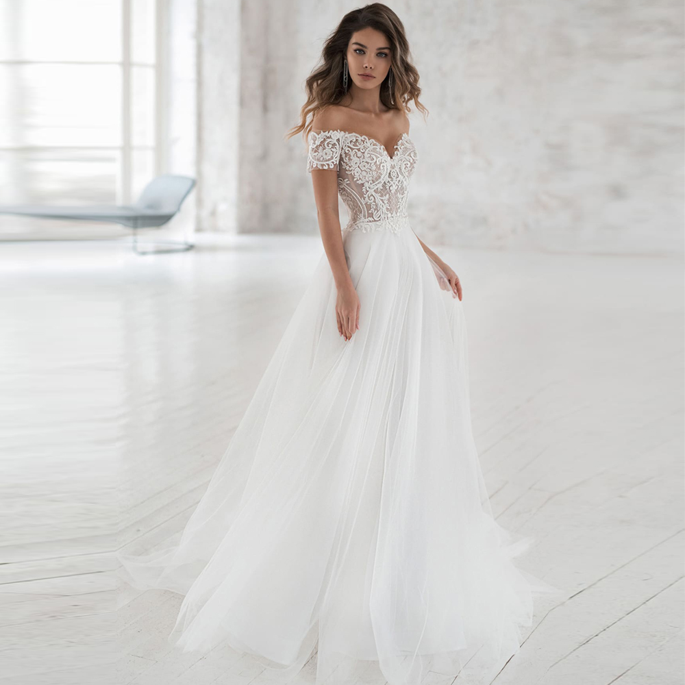 Elegant Off-shoulder Bohemian Wedding Dresses 2019 Custom Made Soft Tulle A-line Lace Bridal Gown Vestidos De Novia