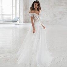 Elegant Off shoulder Bohemian Wedding Dresses 2020 Custom Made Soft Tulle A line Lace Bridal Gown Vestidos de Novia