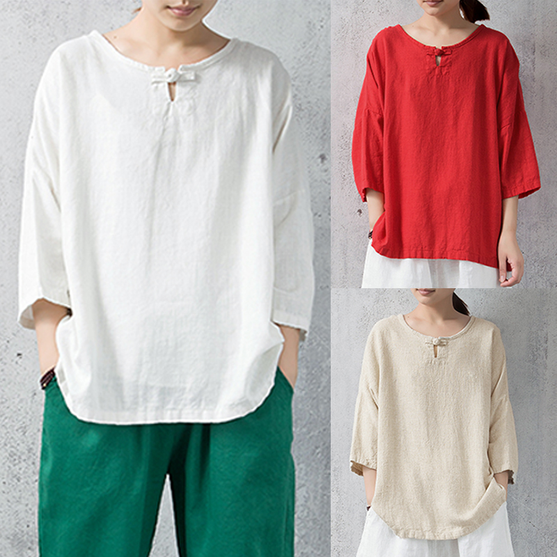 Cotton Womens Tops and Blouses Long Sleeve O-neck Vintage Oversized Women Tops Plus Size Casual Large Size Women Blouses Shirts