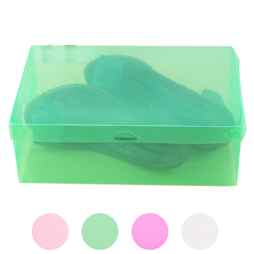 3 pcs/lot Clear Plastic Shoes Storage Box Foldable Drawer Type Box Women men Shoes Organizer Living room storage tools EY11