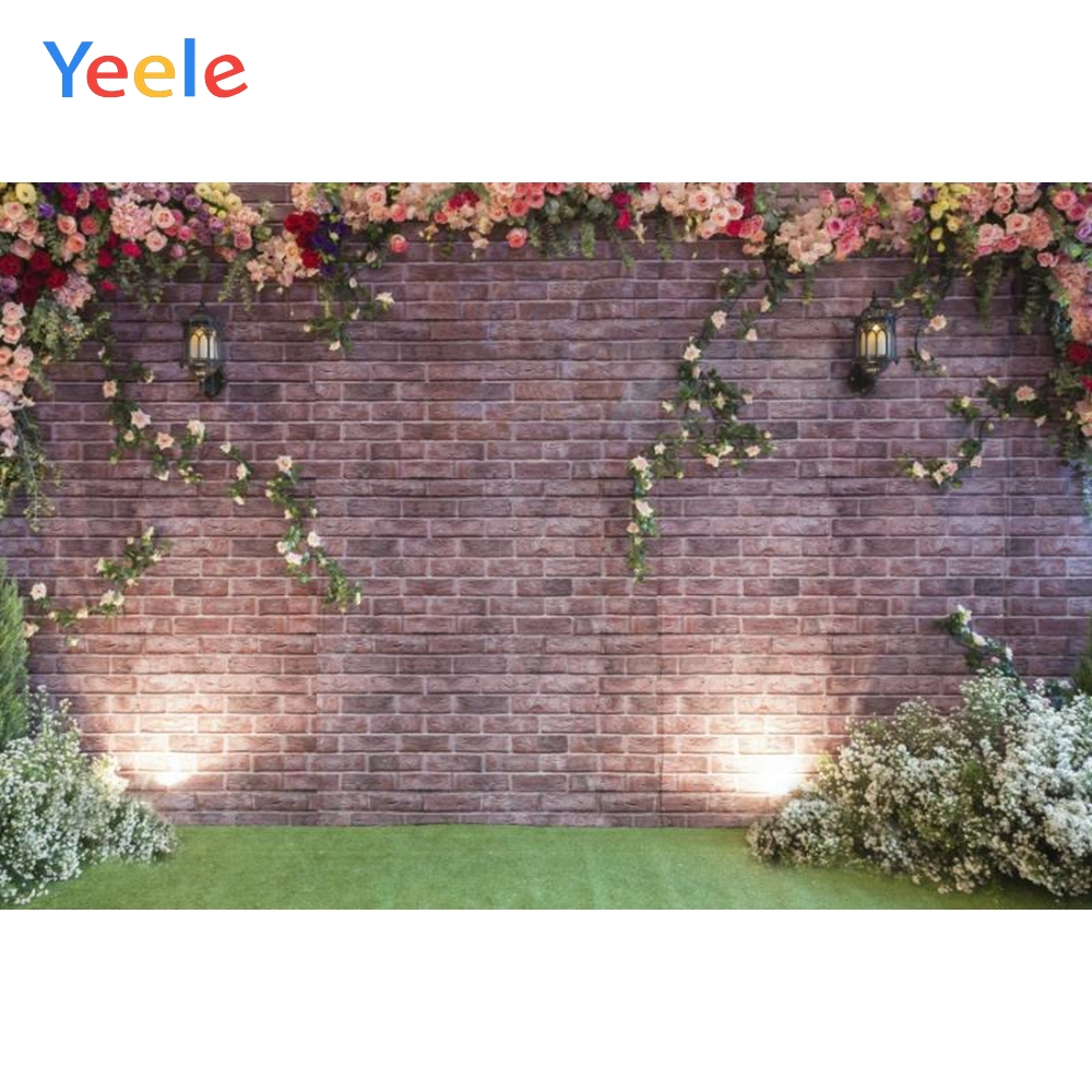 Yeele Brick Flowers Wall Light Wedding Portrait Photographic Backdrops Customized Photography Backgrounds Photocall Photo Studio in Background from Consumer Electronics