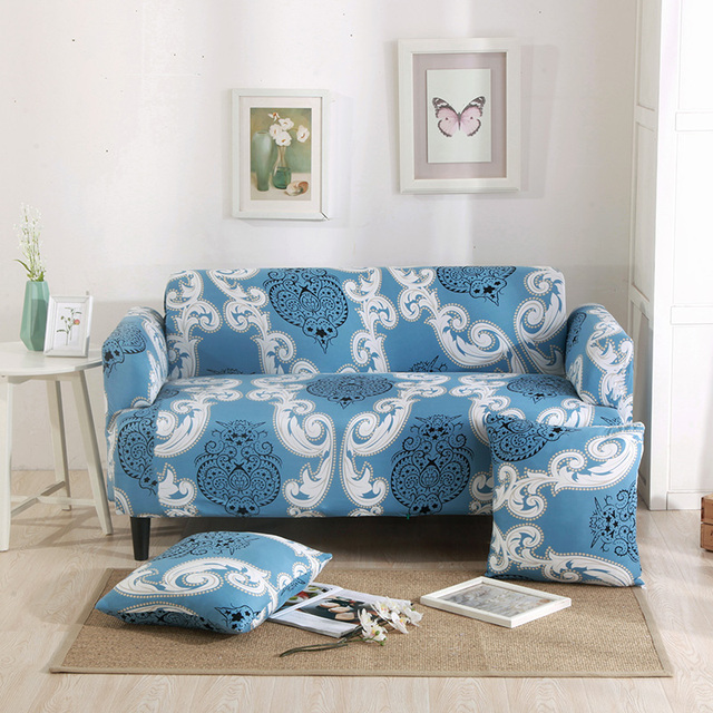 Blue Europe Universal Stretch Furniture Covers Loveseat Couch Sofa Slipcover  For Living Room Elastic Corner Sofa