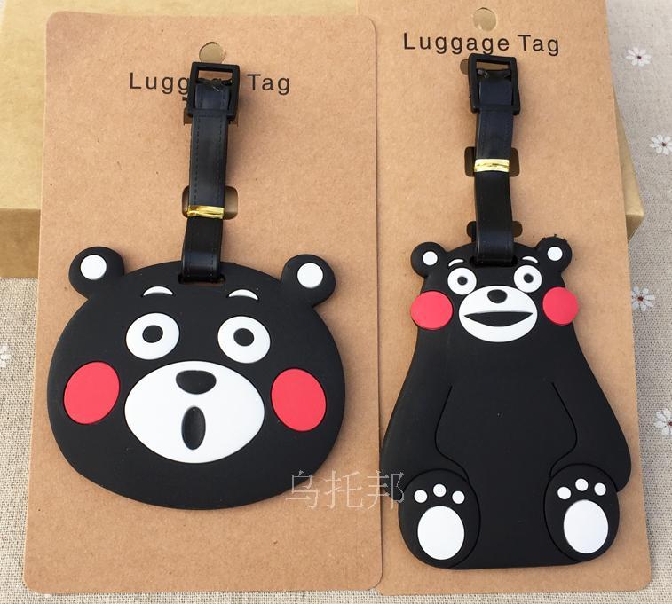 2018 Valiz Maleta De Viaje Mala Travel Supplies Kumamoto Mascot Bear Bear, Soft Rubber Luggage Tag Check Card Identification