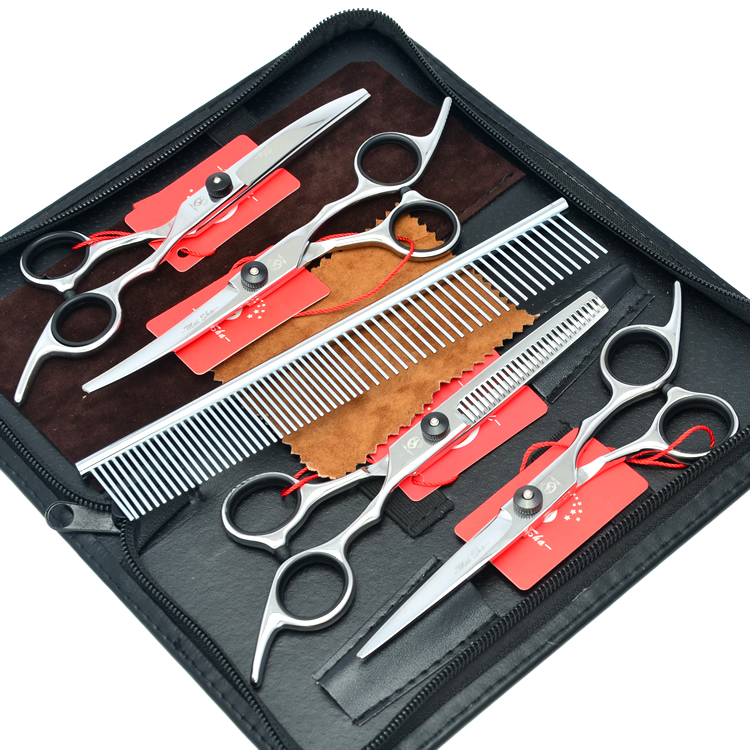 6 0 Meisha Tesoura Puppy Pet Grooming Scissors Set JP440C Clippers Pet Scissors Cutting Thinning Curved