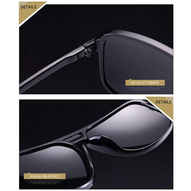 12632118107 Jsooyan Polarized Sunglasses Men Square HD silver mirror Sun Glasses Retro  yellow lens night vision Glass