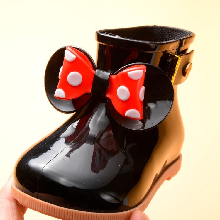 Shoe Rubber-Boots Jelly Bow-Girls Waterproof Winter Kids Child Baby Warm Fur Soft