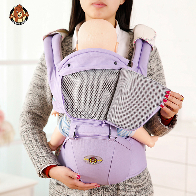 AIEBAO Ergonomic Baby Carrier Infant Kid Baby Hipseat Sling Front Facing Kangaroo Baby Wrap Carrier for Baby Travel 0-18 Months 5
