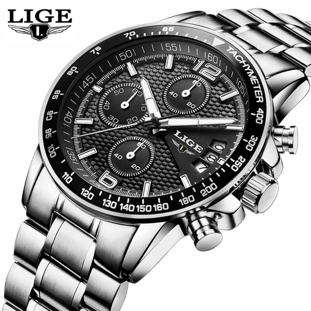 2017 Watch Men LIGE Mens Watches Top Brand Luxury Full Steel Business Quartz Casual Waterproof Sport