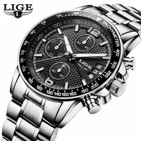 2017 Watch Men LIGE Mens Watches Top Brand Luxury Full Steel Business Quartz Casual Waterproof Sport