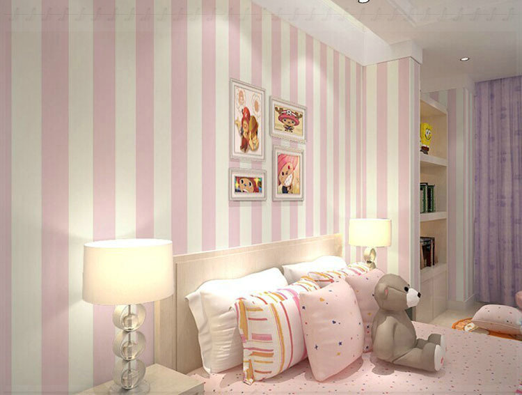 white and pink wallpaper for a bedroom