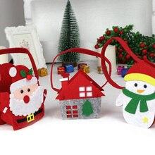 ColorfulChristmas Candy Gift Holder Portable Felt Kid Handbag Treat Bag Xmas
