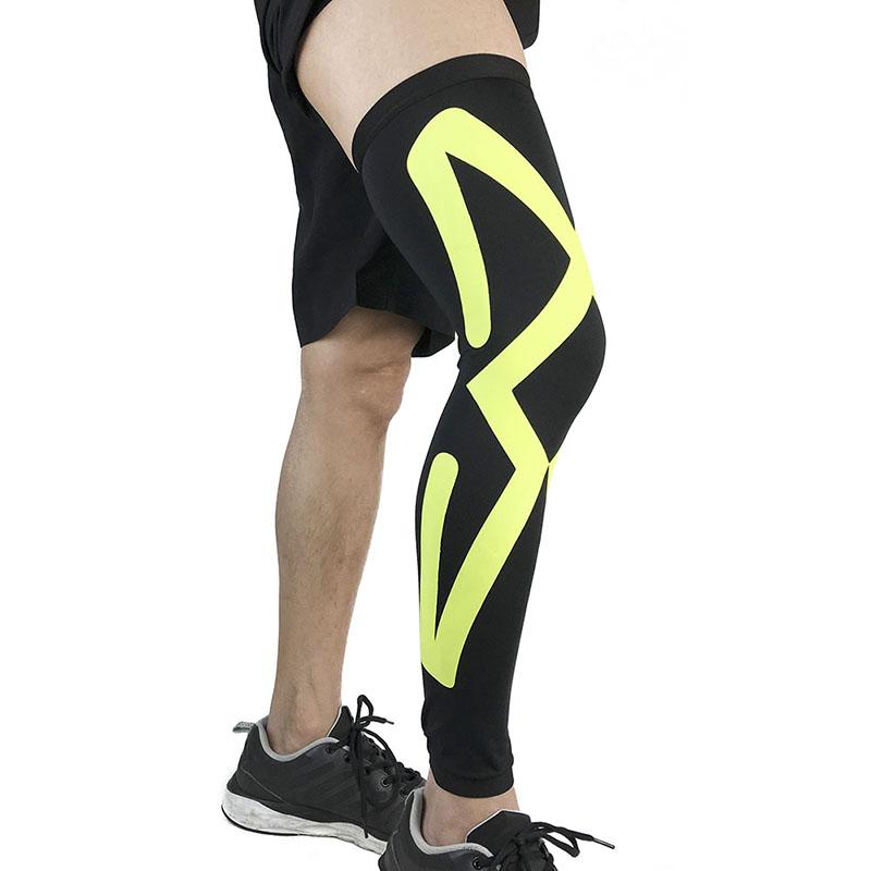 Men Sports Knee Protectors Breathable Long Knee Legwarmers Compression Calf Sleeve Volleyball Football Running Knee Supports W3