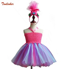 Kids Christmas Trolls Costume Dress For Girl Cosplay Wig Children Halloween Tutu Party Pageant Ball Gown