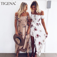 TIGENA Boho Стиль Макси летнее платье Для женщин с открытыми плечами Туника пляжные длинные платья больших размеров 5XL Для женщин летний сарафан роковой