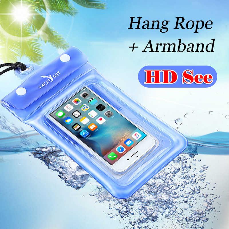 Universelle Wasserdichte Airbag Schwimm Telefon Fall Handy Dry Tauchen Tasche Tasche mit Armband & Neck Strap für iPhone X /8 Plus