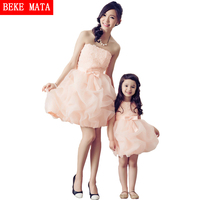 2 Color Bows Princess Girl Ball Down Dress 2016 Spring Mother Daughter Matching Dresses Sleeveless Mom