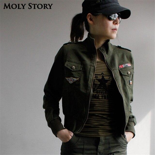 Sportwear Blouson Aviateur Femme Manteau Armée Vert Militaire Vestes  Outwear Blouson Femme Chaquetas Mujer