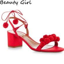 ฤดูร้อนG Ladiatorรองเท้าแตะรองเท้าผู้หญิงรองเท้าส้นสูง6เซนติเมตรลูกไม้ขึ้นPom Pomรองเท้าแตะผู้หญิงเปิดนิ้วเท้าผู้หญิงเซ็กซี่กางเกงยีนส์รองเท้าแตะผู้หญิงB-0067