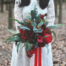 Ramo De flores De seda De estilo bohemio Artificial De rosas De novia De color rojo oscuro