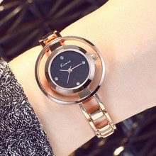 2016 Kimio Simple Fashion Womens Watches Top Brand Diamond Scale Double Ring Rose Gold Watches For Women Jewelry Bracelet Strap