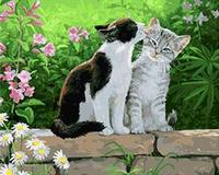 MaHuaf W246 Cats In The Garden Acrylic Paint By Numbers Oil Painting Gift Coloring By Numbers