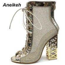 Aneikeh/Новинка года; Летние босоножки; пикантные сандалии-гладиаторы золотистого цвета; женские туфли-лодочки; босоножки на высоком каблуке со шнуровкой; ботинки золотистого цвета