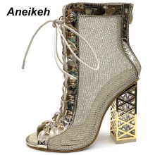 Aneikeh 2019 Neue Sommer Sandale Sexy Goldene Bling Gladiator Sandalen Frauen Pumpen Schuhe Lace-Up High Heels Sandalen Stiefel gold(China)