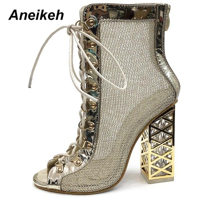 Aneikeh 2019 Yeni Yaz Sandalet Seksi Altın Bling Gladyatör Sandalet Kadın Pompaları Ayakkabı Dantel-Up Yüksek Topuklu Sandalet Çizmeler altın