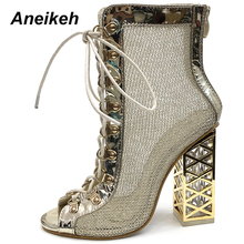 Aneikeh 2020 New Summer Sandal Sexy Golden Bling Gladiator Sandals Women Pumps Shoes Lace-Up High Heels Sandals Boots Gold 42 43