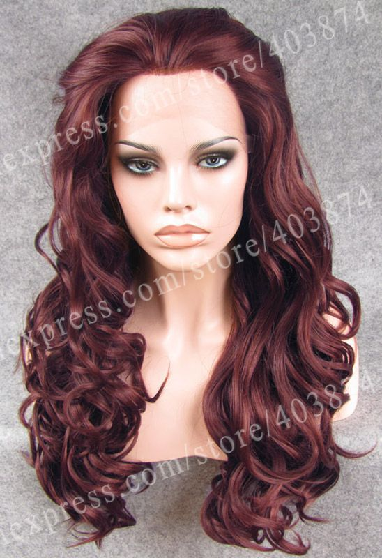 ФОТО Drag Queens Wig  Aburn Long Wavy Wig Heat Resistant Wig Synthetic Lace Front Wig