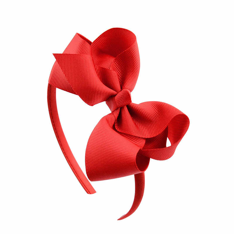 4 Inch Girl Headband Hair Accessories Handmade Soild Bow Hairband Grosgrain Ribbon Hair Bows Hair Bands for Girls Kids Gifts