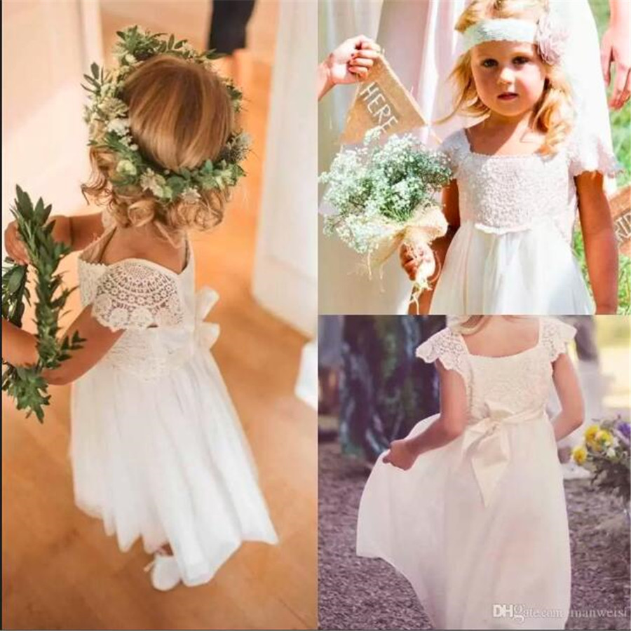 Bohemia Chiffon Beach Flower S Dresses For Weddings Cap Sleeves Little Kids Toddler Pageant Dress First Communion Gown