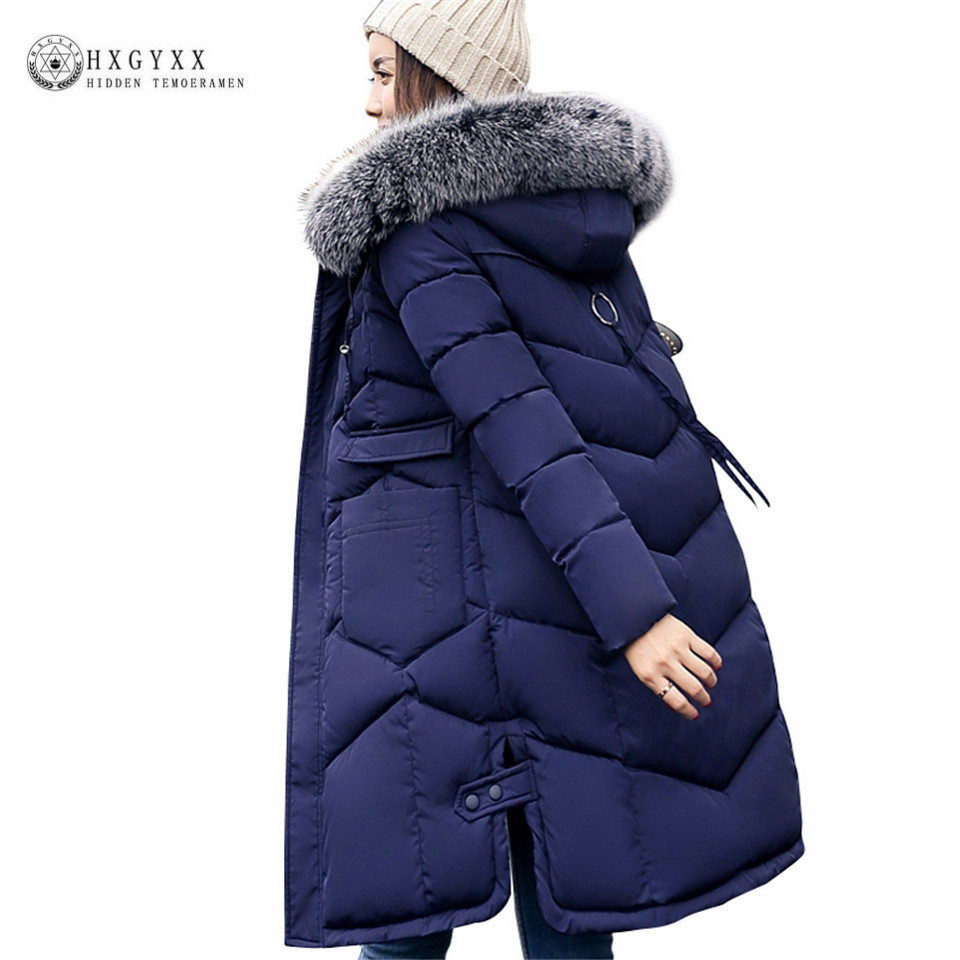 2017 New Winter Women Long Coat Collar Hooded Thicken Warm Slim Cotton Padded Jacket Female Plus Size Zippers Parka Ok394 2017 middle aged winter jacket women thicken warm cotton padded slim plus size 6xl winter coat women parka high quality