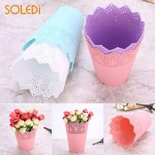 Buy pink plastic flower pots and get free shipping on aliexpress soledi contemporary flower pots lace plant vase pot desk tidy holder pen container plastic pink mightylinksfo
