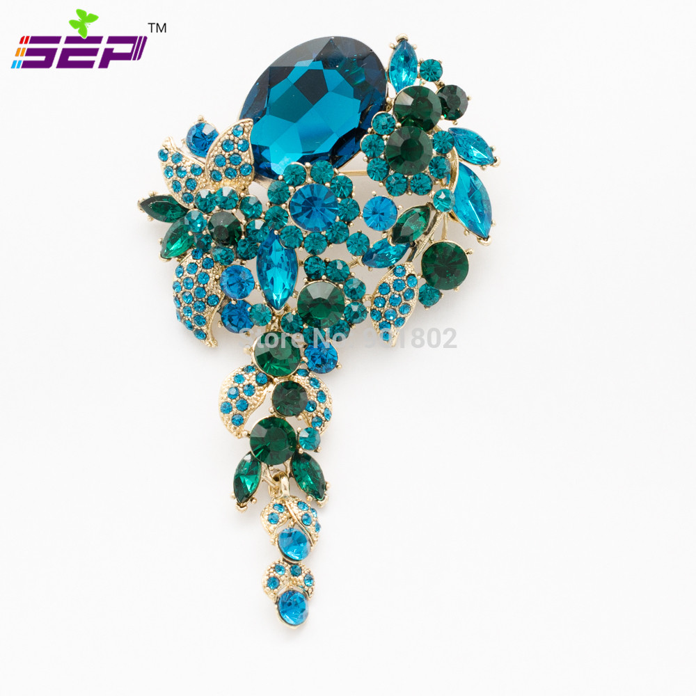 Crystal Rhinestone Brooch Pins Dangle Broach Women Jewelry Accessories Flower Bouquet 6524