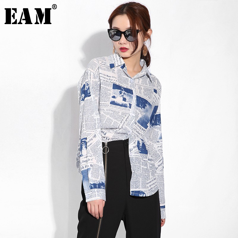 [EAM] 2020 New Spring Autumn Lapel Long Sleeve Pattern Printed Loose Big Size Personality Shirt Women Blouse Fashion Tide BZ001