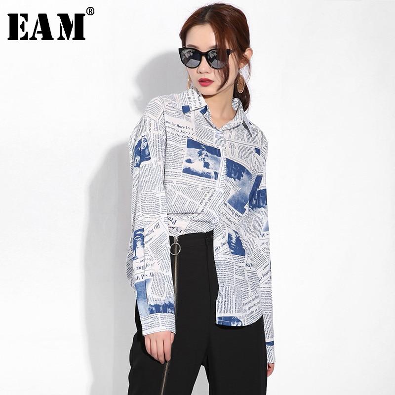 [EAM] 2020 New Spring Autumn Lapel Long Sleeve Pattern Printed Loose Big Size Personality Shirt Women Blouse Fashion Tide BZ001
