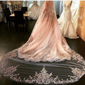 Glamorous long 3 meters appliques tulle formal occasion champagne wedding veils with comb one layer women bridal mantilla