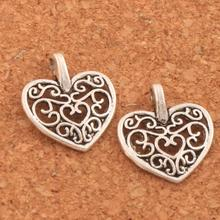 Filigree Heart Spacer Beads 14.5x14.5MM 56pcs Tibetan Silver Pendant For Making Bracelet And Necklace Lead And Nickel Free L1660 hollowed filigree butterfly necklace and earrings