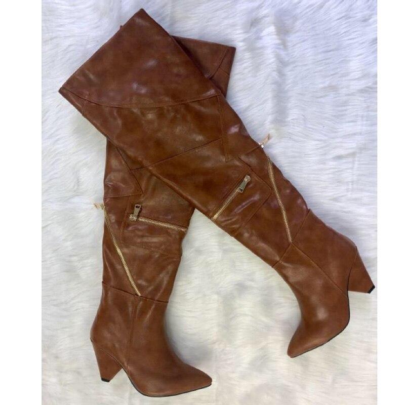Die Spitz High Runway Heel Über Knie Seltsame Oberschenkel 2019 Brown Mode Zipper Stiefel Frau Decor Frauen WqYEvqPdwA