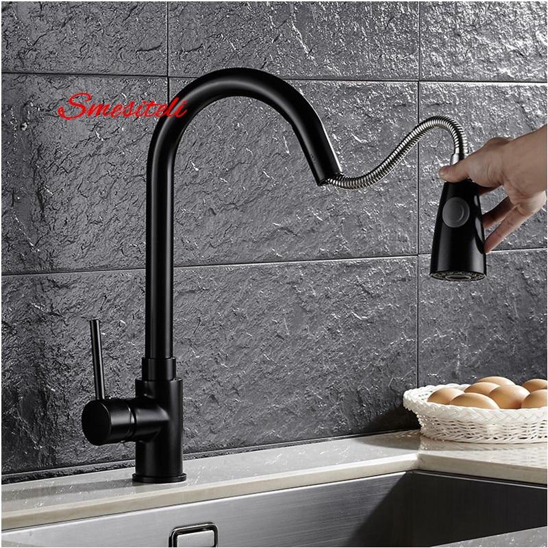 Smesiteli Kitchen Faucets Brass Matte Black Put Out Kitchen Laundry Sink Tap Mixer Faucet Shower Spout Swivel Basin Vanity waugh e put out more flags