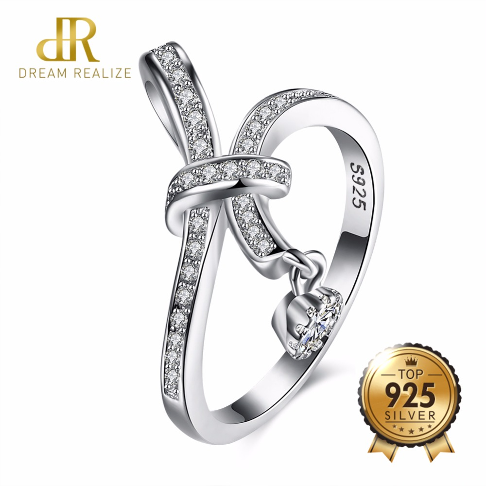 DR Romantic Bowknot Fashion Wedding Ring Real 925 Sterling Silver Rings for Women Wholesale Bridal Jewelry Beauty Gift Bijoux